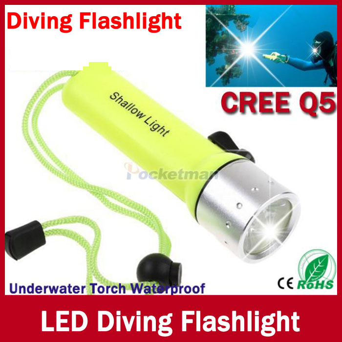 LED Flashlight Diving CREE Q5 LED Waterproof Underwater Scuba Dive Torch Flash Light for Diving Free shipping(China (Mainland))