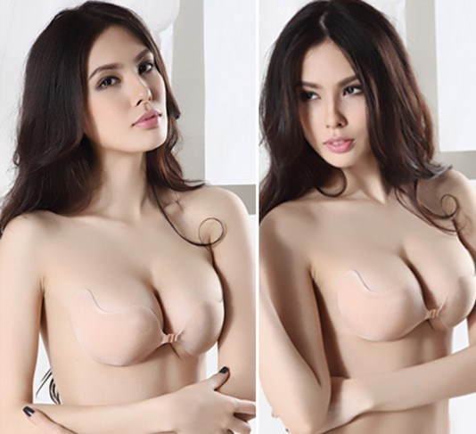 Hot Sale! Invisible Reusable Adhesive Backless Push Up Silicone Stick Sexy V Strapless Bra S,M,L Free Shipping 1pcs/lot