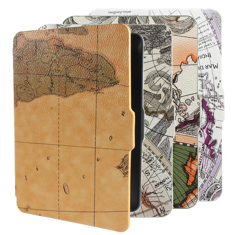 High quality 6 inch Retro World Map Pattens PU Leather Smart Anti-Dust kindle Paperwhite cover case with wakeup/sleep function