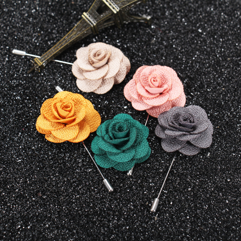 Wedding Brooch Bouquet for Men Brooch Flower for Men Suit Floral Lapel Pin of Multilayer Handmade Fabric Brooches(China (Mainland))