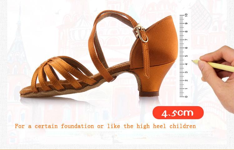 20161031_105043_029Girls Dance shoes Ballroom latin shoes for Children Satin Sports Shoes Deep skin heel 3.5cm Gift bag BD603