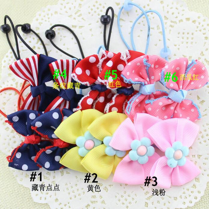 300pcs/lot Decorative Polka Dots Grosgrain Ribbon Bow Girls Boutique Crochet Headband Teens Kids Hair Bows(China (Mainland))