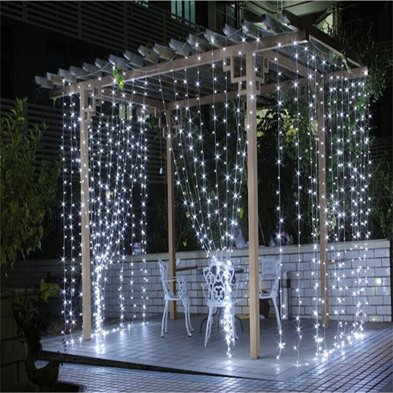 3m 3m 300 leds icicle light string fairy curtain wedding. Black Bedroom Furniture Sets. Home Design Ideas