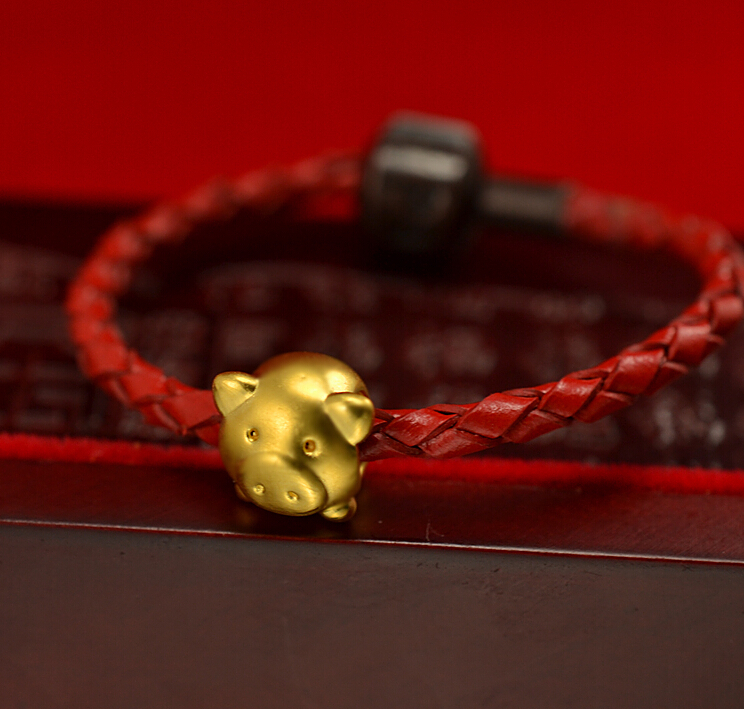 Solid 24K Yellow Gold Cute Pig Knitted Beads Bracelet Baby Gift<br><br>Aliexpress