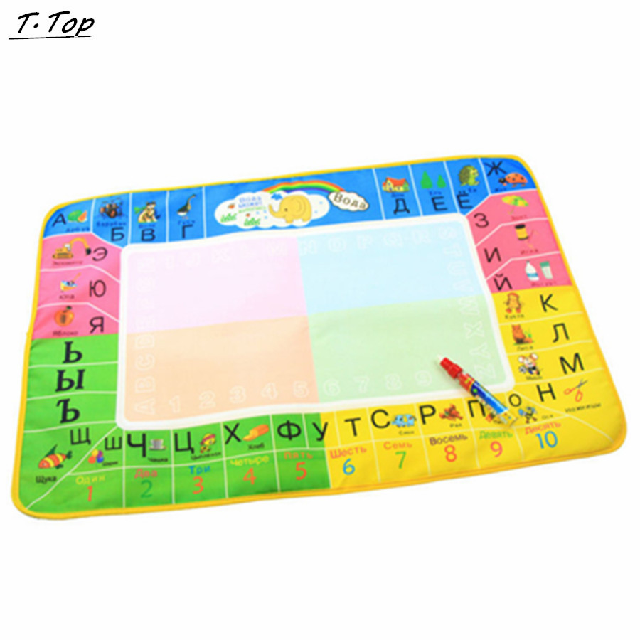 73*49cm 4 Colors Quality Stock Russian Water Doodle Drawing Baby Water mat Board Toys With Magic Pen(China (Mainland))