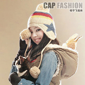 Five-pointed star bianzi ear protector cap knitting wool cap knitted hat knitted hat women's autumn and winter thermal