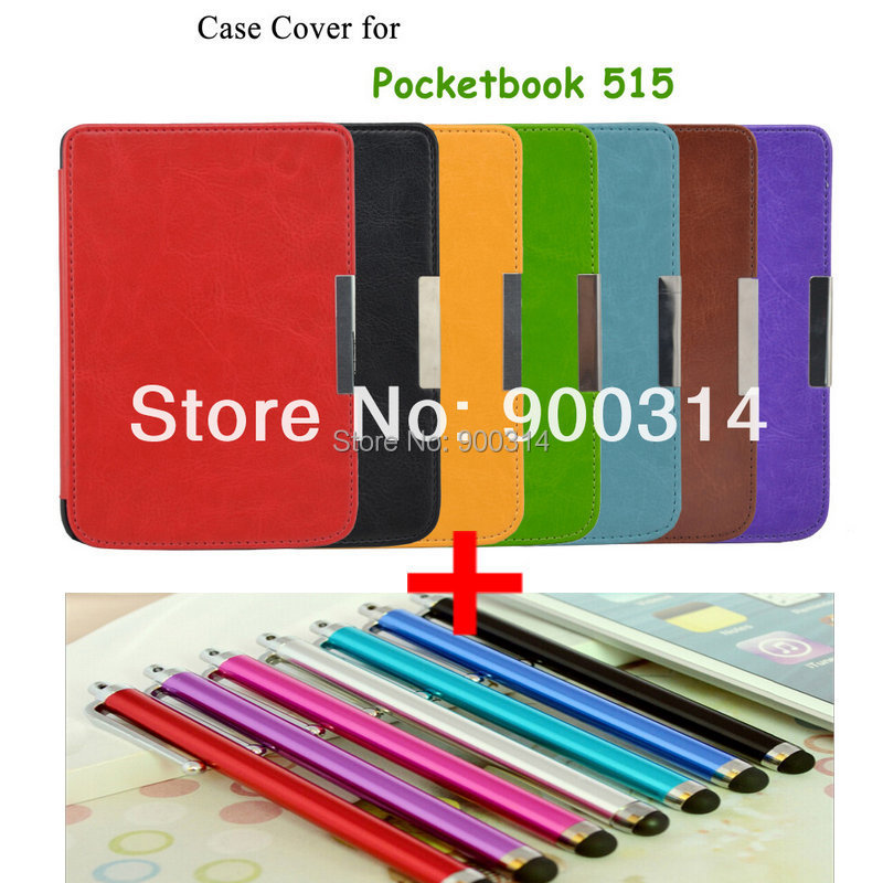 leather protective cover case funda For New ebook Pocketbook mini 515 hard shell leather case cover +Stylus Pen+free shipping(China (Mainland))