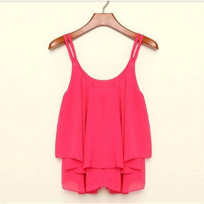 Feitong 4 Colors Women Summer Clothing Bilayer Sleeveless Shirt Chiffon Loose Vest Tank Tops Blouse Free