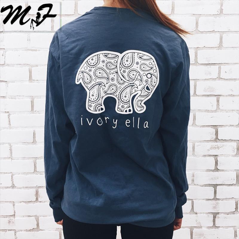Brand New 2016 Summer Ivory Ella T-shirt Women Tops Tee Print Animal Elephant T Shirt Loose Long Sleeve Harajuku Tops Pullovers(China (Mainland))