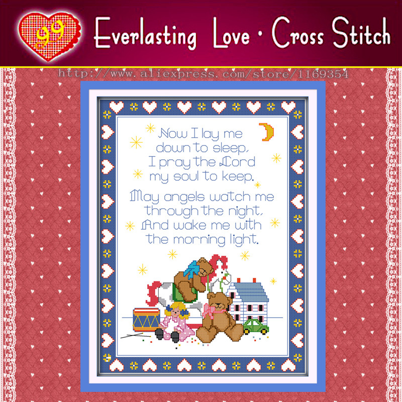 Prayer bear,baby home wall Decor 11CT counted print on canvas embroidery diy dimension handmade Cross stitch kits needlework Set(China (Mainland))