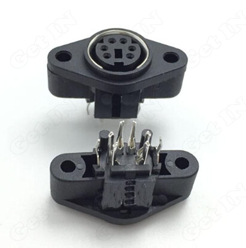 100pcs  6Pins MDC/S terminal Connector Mini PS2-6P Sockect DIN Female Ear Sockect Connectors Straight Pins<br><br>Aliexpress