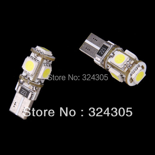 1 New T10 5050 SMD 5 LED W5W 194 Error Free White Light Bulb Canbus function warning canceller led Eorr free bulb - store