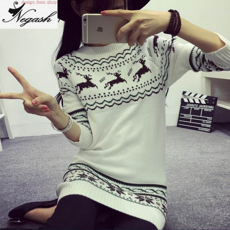 Fashion Deer picture sweaters Mori Girl Ladies Christmas Sweater Sweaters And Pullovers Fashion O-Neck Pullover Feminino(China (Mainland))