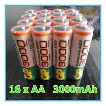 16 Pieces NiMH AA 1.2V Rechargeable NI-MH Battery 3000 mAh bateria recargable gp AA battery pilha recarregavel