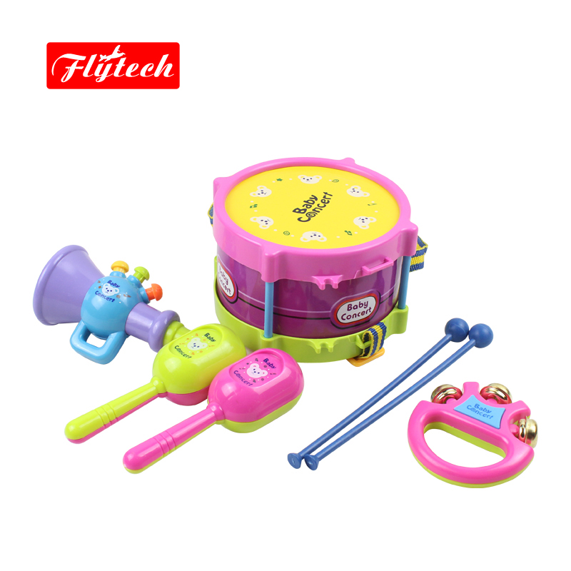 5 PCS Kids Toy Musical Instruments Tambourise Trumpet Cabasa Handbell Educational Kids Toys Children Rattle For Kid(China (Mainland))