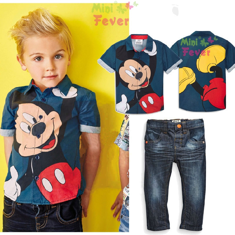 2016 fashion Baby boy clothing sets for summer children's clothing suit set 100%cotton Kids suit set cartoon shirts+jeans(China (Mainland))