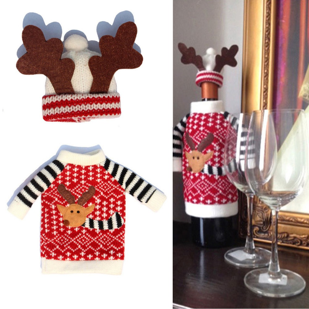 1 Set Wine Bottle Cover Xmas Santa Deer Table Decor Christmas Bottle Cover Cap Party Decoration Gifts WB040 P50(China (Mainland))