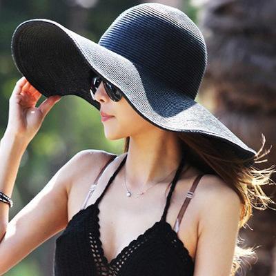 New 2015 Summer Women's Foldable Wide Large Brim Beach Sun Hat Straw Beach Cap For Ladies Elegant Hats Girls Vacation Tour Hat(China (Mainland))