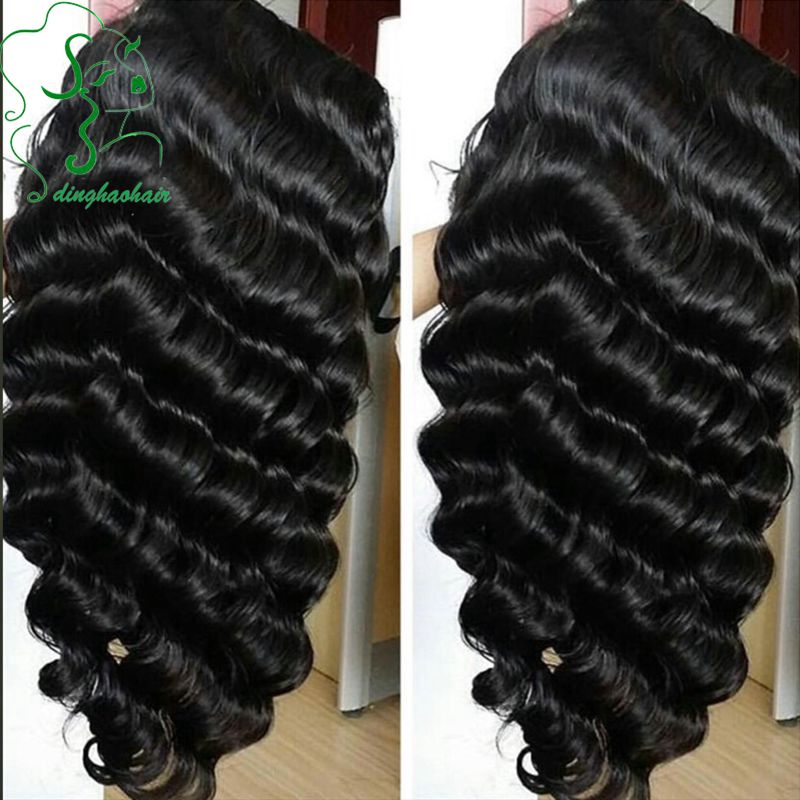 Brazilian virgin cheap glueless full lace human hair wigs deep wave wig 1B hair color with natural hairline for black women