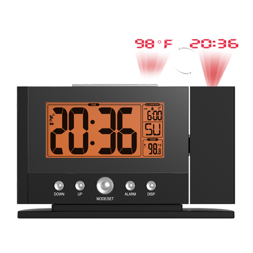 2016 Projection Alarm LED Clock Projecting to Wall Ceiling Weekday Temperature Orange Backlight Display Clocks Modern Time watch(China (Mainland))