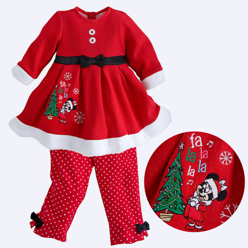 Brand NEW!Girl Christmas long sleeved suit Christmas Tree Santa Outer wear Dress and Pants Suit Free Shipping 5sets/lot(China (Mainland))