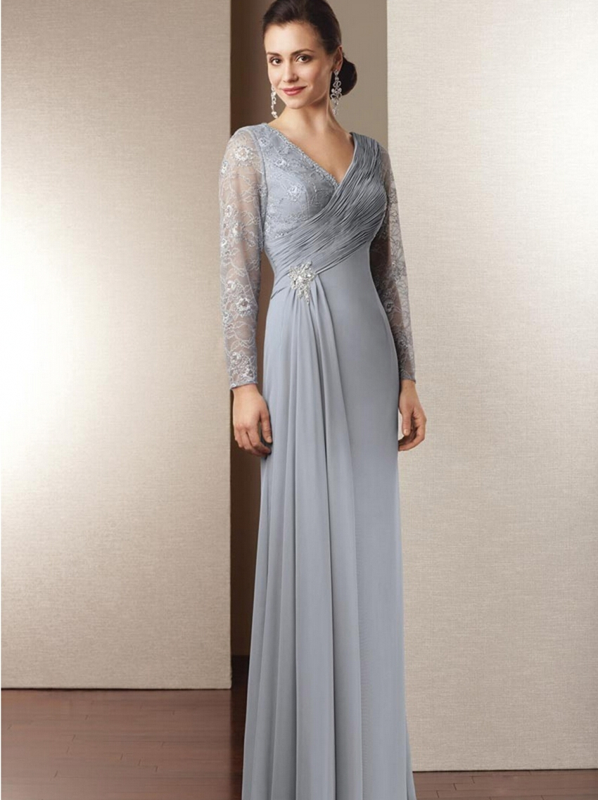 Buy long sleeve chiffon mother of the for Mothers dresses for weddings