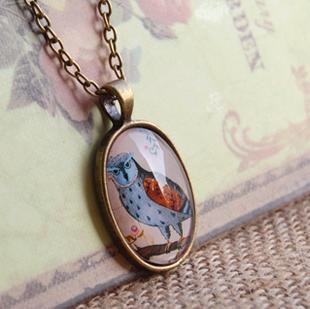 Vintage Jewelry Handmade Necklace Jewelry Fashion Glass OWL Pattern Neckalce Sweater Chain Collier Bijoux NS-XL23(China (Mainland))