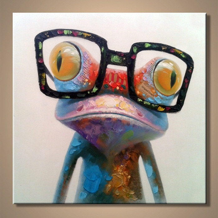Cartoon Oil Painting on Canvas Abstract Animal Wall Art for Home Decoration 1pc Happy Frog 4cm strecth/ no frame AN-103(China (Mainland))