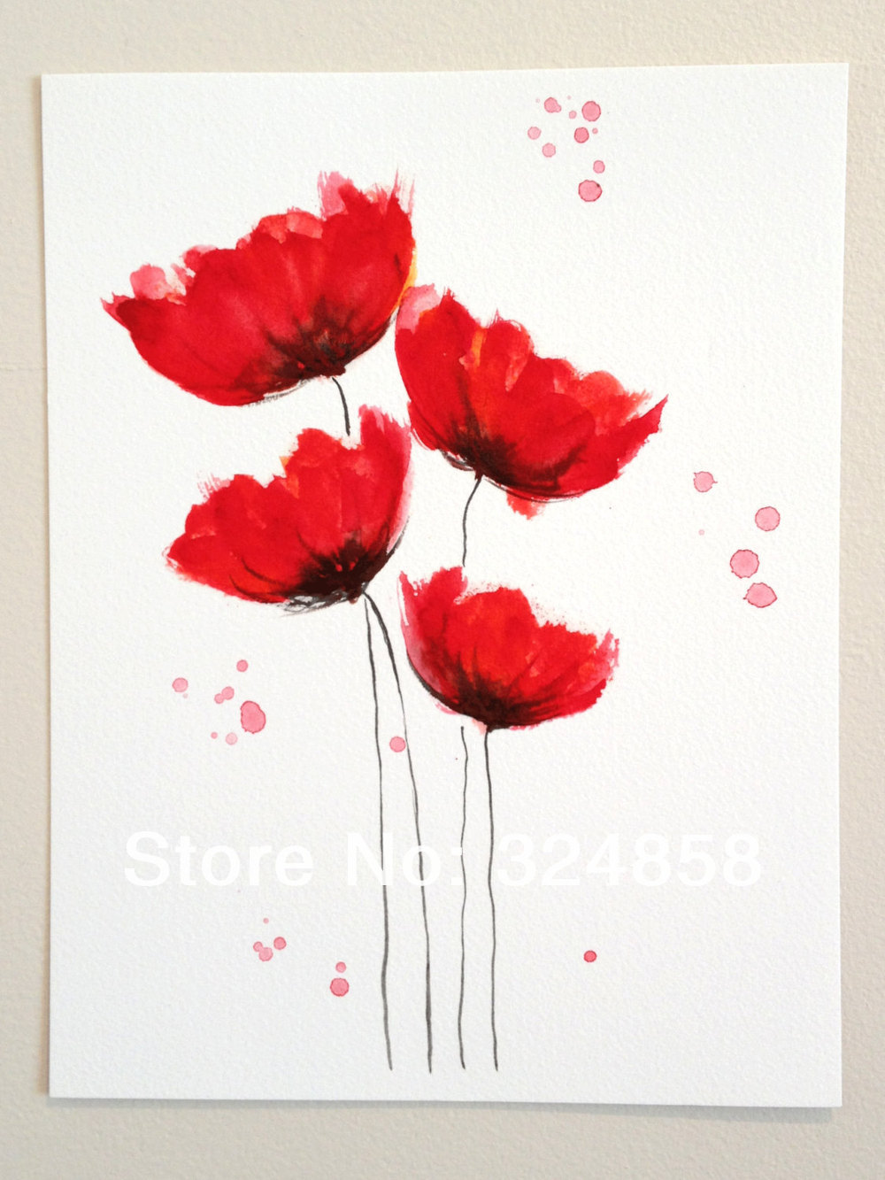 Original Watercolor Painting Poppy Cluster Red Flowers Blossom Home Decor Wall Art Contemporary
