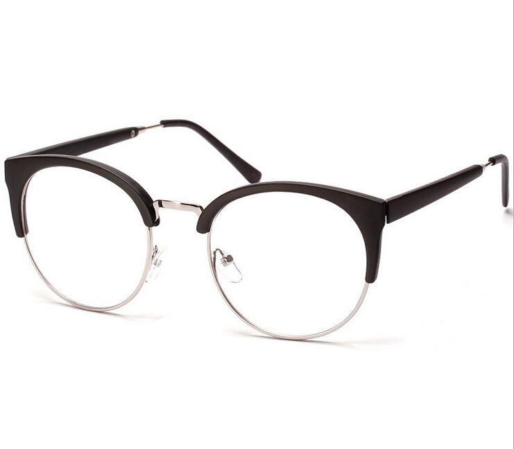 2015 Fashion Cat Eye Metal Glasses Sunglasses Classic Retro Round Star Semi-Rimless Women's Sunglasses Men's Plain Mirror(China (Mainland))