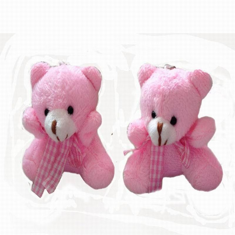 30cm Teddy Bear Grid Heart Stuffed Plush Scarf Beige Animals Soft Toy Doll Gifts