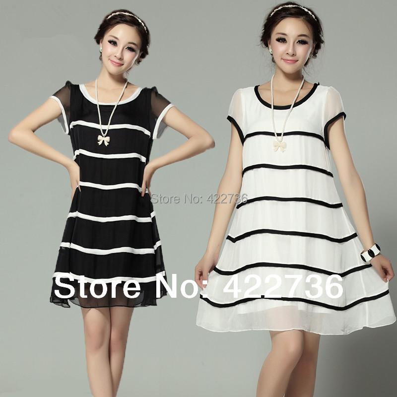 2015 summer autumn women cute elegant striped chiffon princess dress plus size l xl xxl xxxl xxxxl 4xl 5xl black white blue - Mary Fashion Large Size Clothing Store ( S-10XL store)
