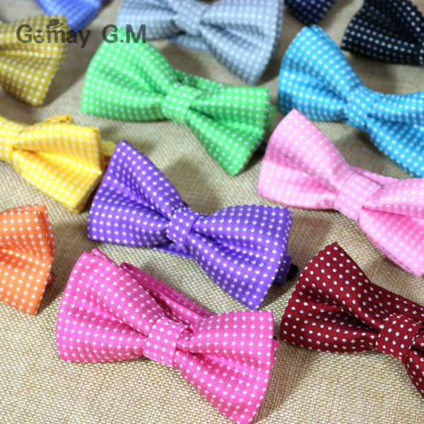 NEW Dots Childrens Bowtie Fashion Neckwear Adjustable Unisex Bow Tie for Boy and Girl Polyester Pre-Tied(China (Mainland))