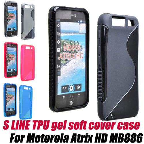 s line TPU skin gel soft cover case for Motorola Atrix 3 HD MB886+SCREEN PROTECTOR, free shipping(China (Mainland))