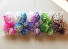 5 colors 4pcs/lot Natural dyed rattan ball wedding / home decoration artificial flower ball free shipping(China (Mainland))