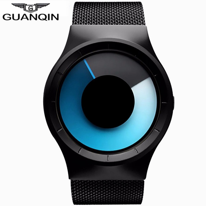 GUANQIN New Fashion Designer Watches Men's Watches Men Luxury Brand Stainless Steel Mesh Band Waterproof Quartz Watch male clock(China (Mainland))