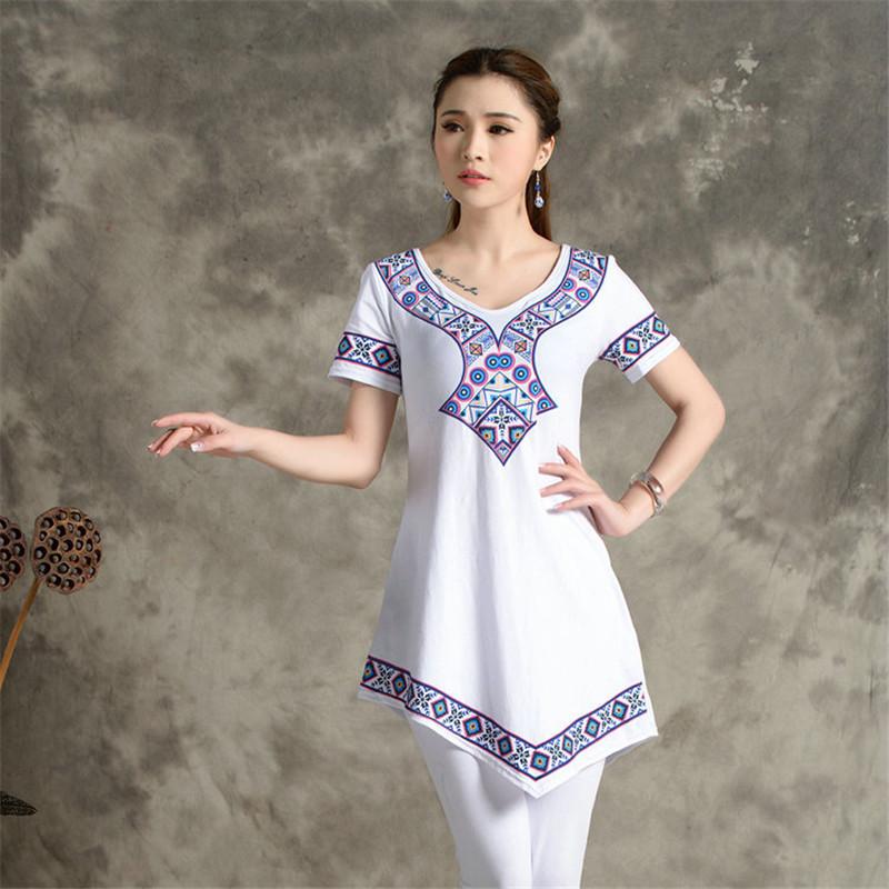 Large Size Digital Printing Bottoming Irregular Loose T-shirt Women's Summer New Retro Fashion M-4XL(China (Mainland))