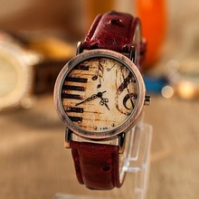 Hot Sale Vintage Luxury Women Watch Fashion Musical Symbol Casual Watches Generous Quartz Leather Dress Wristwatch Relogio Clock