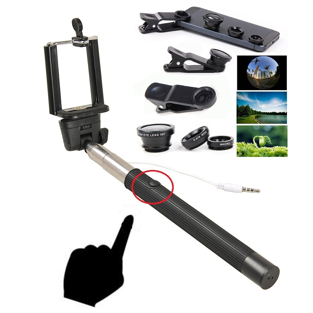 Z07-5 plus Monopod Selfie Stick cable+ clip 3 1 lens 180 Fish Eye +wide angle & macro lens iPhone 6 5 4 samsung phone