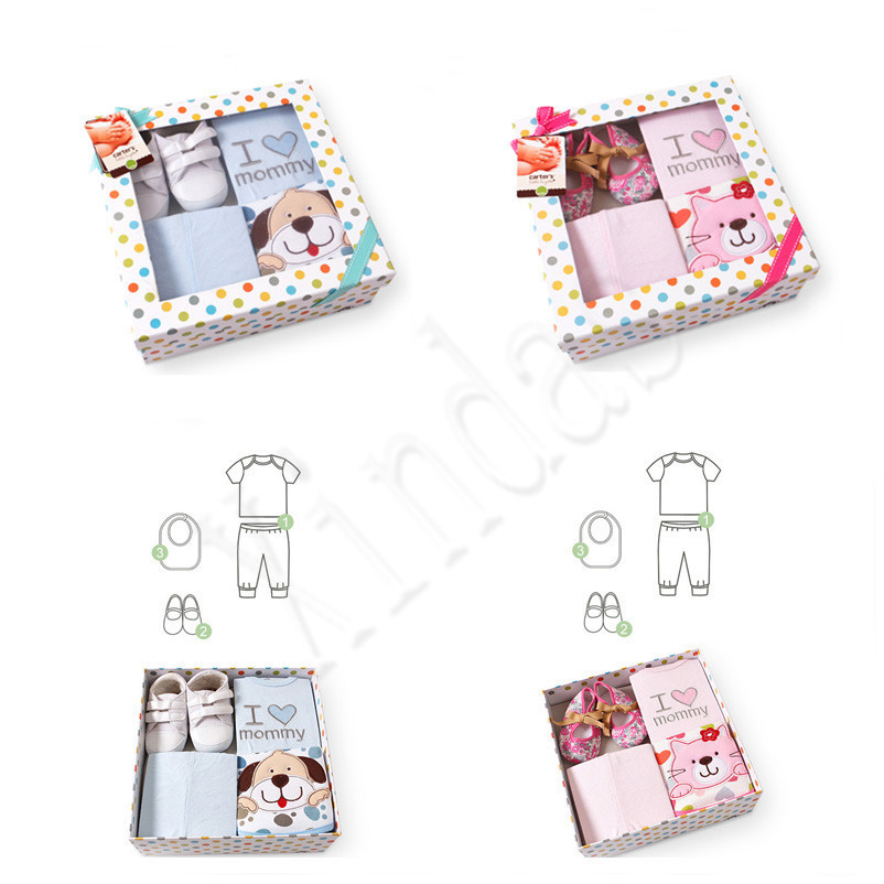 Baby Clothes Sets Soft Cotton Bibs Burp Cloths Toddler Shoes Short Sleeve Baby Wear Baby Care For Newborn Baby Mix Gift Box Set(China (Mainland))