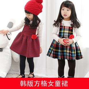 2013 baby spring children's clothing female child 100% cotton square grid suspender skirt full dress princess dress