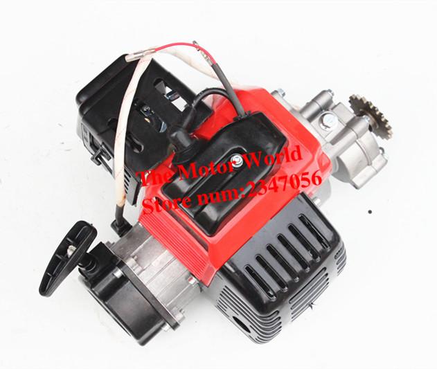 49CC COMPLETE ENGINE 2 STROKE SUPER POCKET BIKE Electric start RED(China (Mainland))