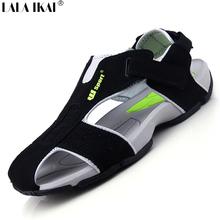 2015 Summer Sandals Men Closed Toe Fashion Beach Men Sandals Flexional Suede Leather Men Shoes Beach Shoes XMH0023-0.5 Big Size