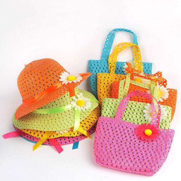 Summer Hat Girls Kids Beach Hats Bags Flower Straw Hat Cap Tote Handbag Bag Suit(China (Mainland))