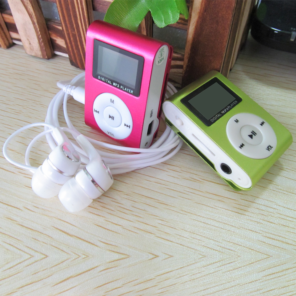 Mini Clip Metal Mp3 Music Player Colorful Portable LCD Screen Mp3 Player With TF Card Slot + Earphone + USB Cable High quality(China (Mainland))
