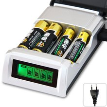 Original C905W 4 Slots LCD Display Smart Intelligent Battery Charger for AA / AAA NiCd NiMh Rechargeable Batteries EU/US Plug(China (Mainland))