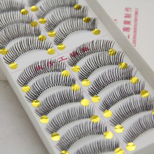 Buy Natural Long Fake Lashes Handmade Thick Full False Eyelashes Black Strip 10 Pairs Individual Wimpers Extension Makeup Kit D-46 for $3.42 in AliExpress store