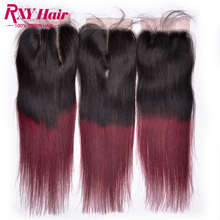Buy Ombre Virgin Hair Two Tone 1B/Burgundy Dark Roots Brazilian Straight Hair free Middle 3 part Lace Closure Ombre Hair Extensions for $21.68 in AliExpress store