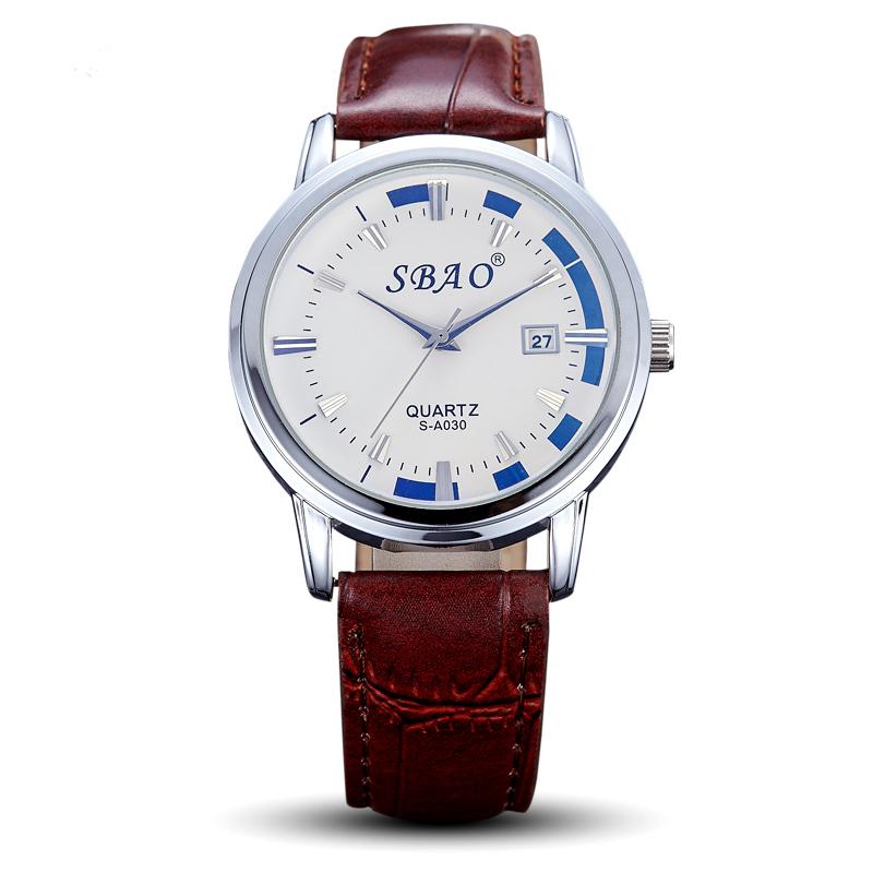 Sbao Watch Fashion Men Luxury Brand Fashion Waterproof Calendar Classic Mens Leather Uk Wrist Watch Horloge Mannen(China (Mainland))