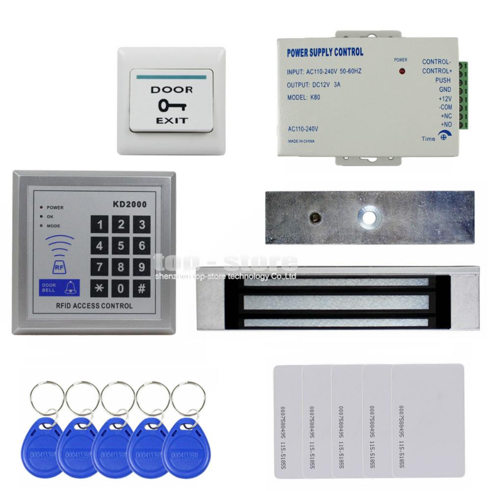 Diy Full Kit Set 125KHz RFID Keypad Access Control System Security Kit + 180kg 350lb Magnetic Lock KD2000(China (Mainland))